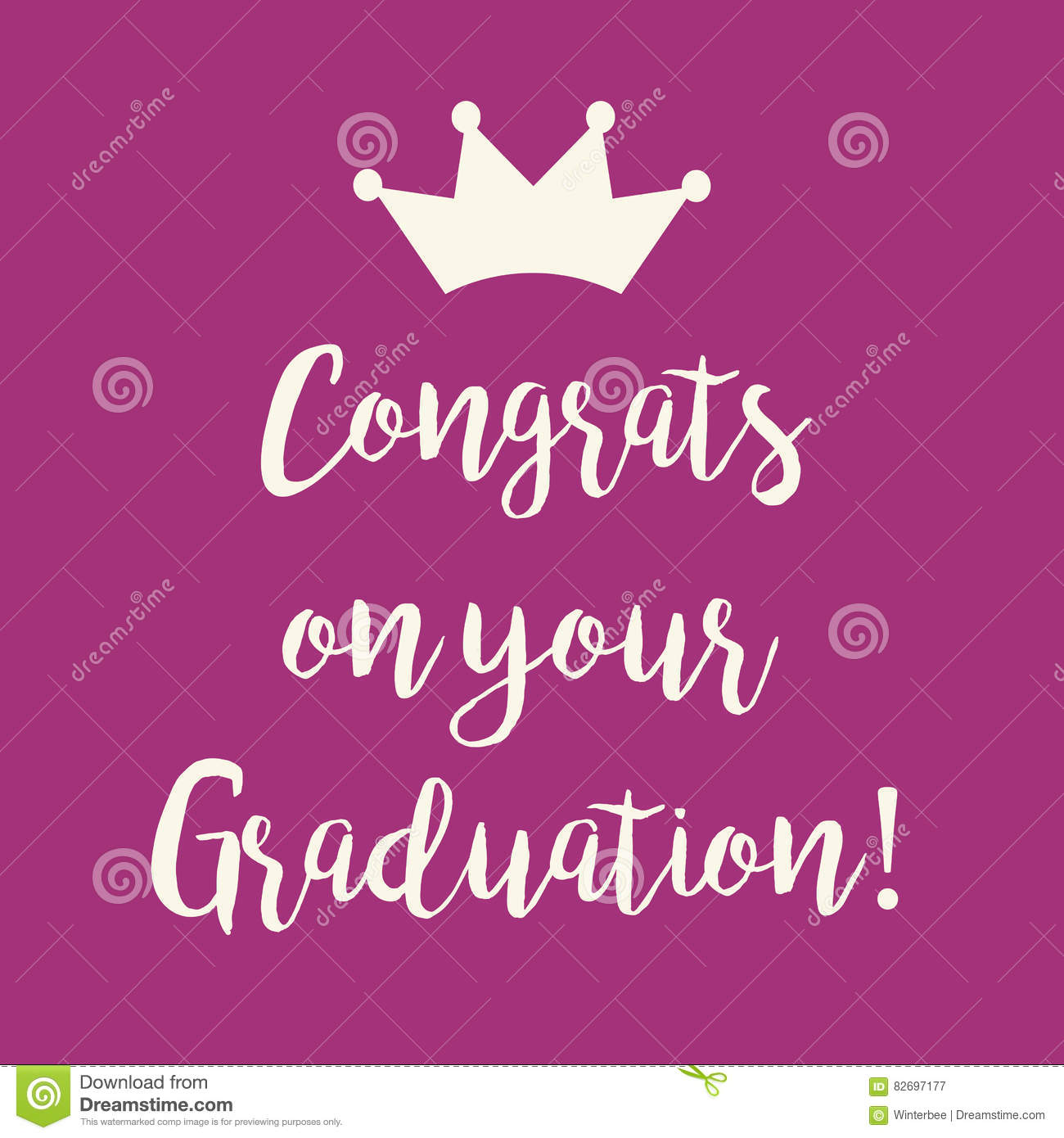 Purple Pink Congrats On Your Graduation Greeting Card Stock Vector