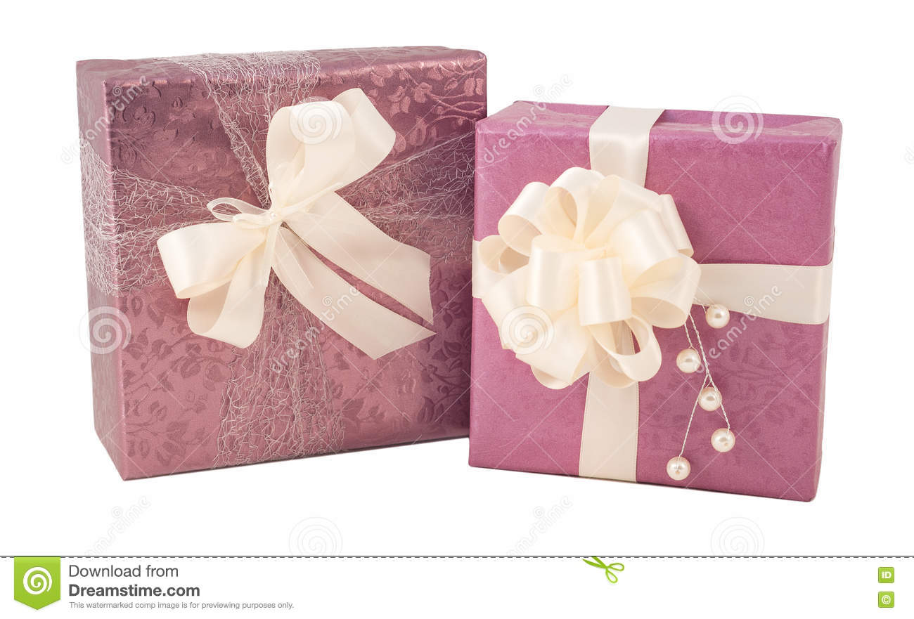 Purple Pink Gift Box Wedding Present Isolated Stock Image - Image of ...