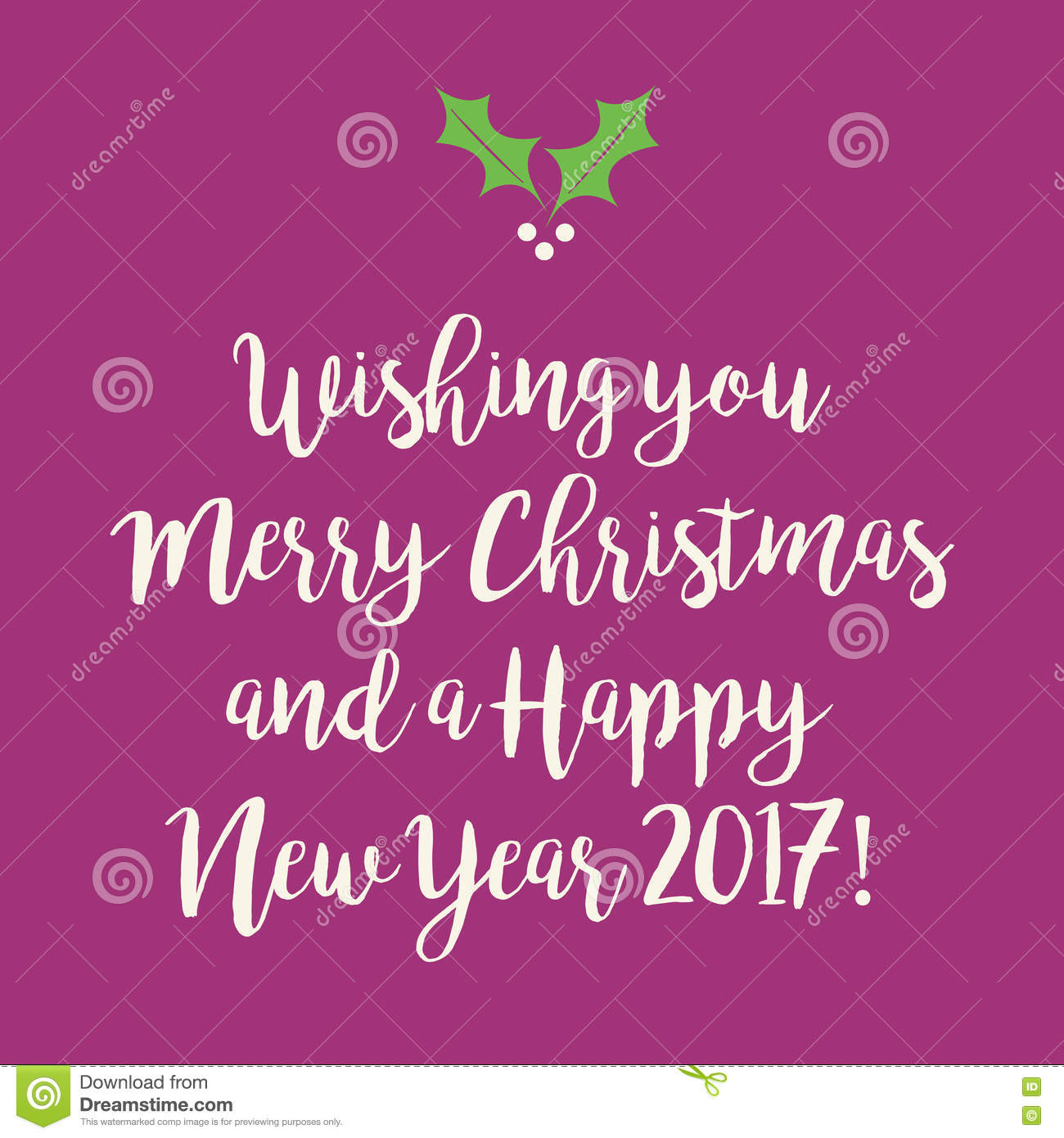 purple pink merry christmas and happy new year greeting card wit