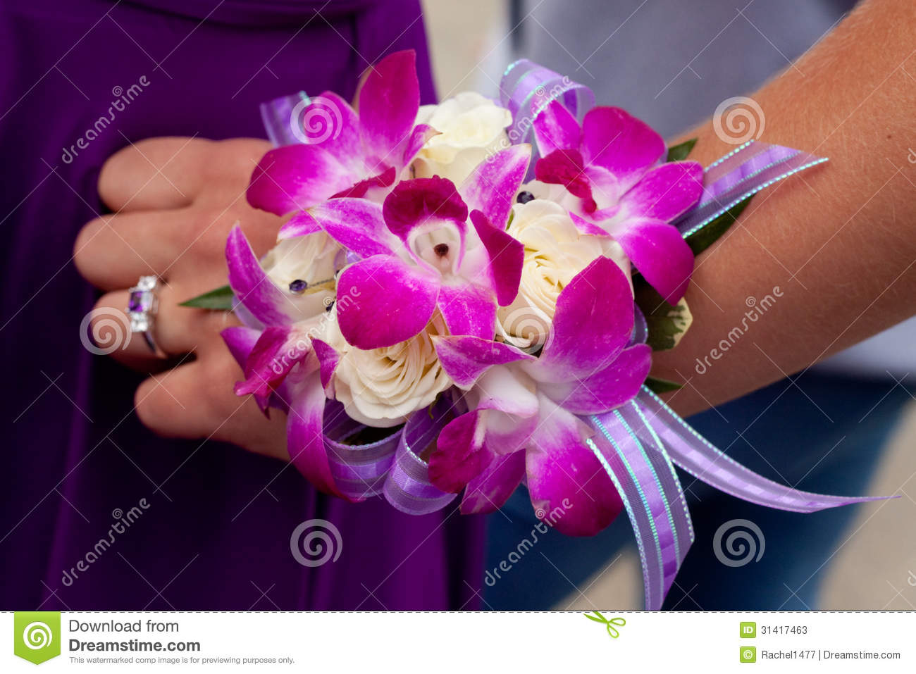 Purple And Pink Prom Corsage Stock Image Image Of Ribbon White