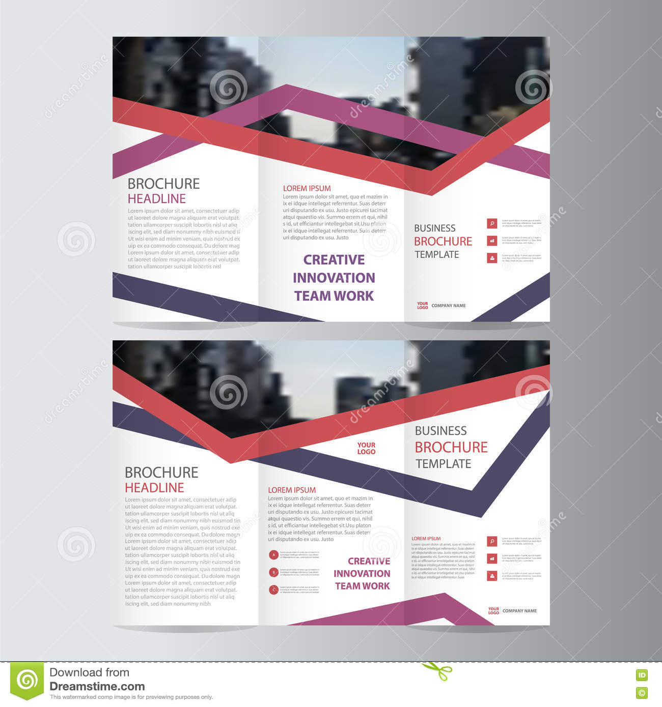 purple pink red elegance business trifold business leaflet