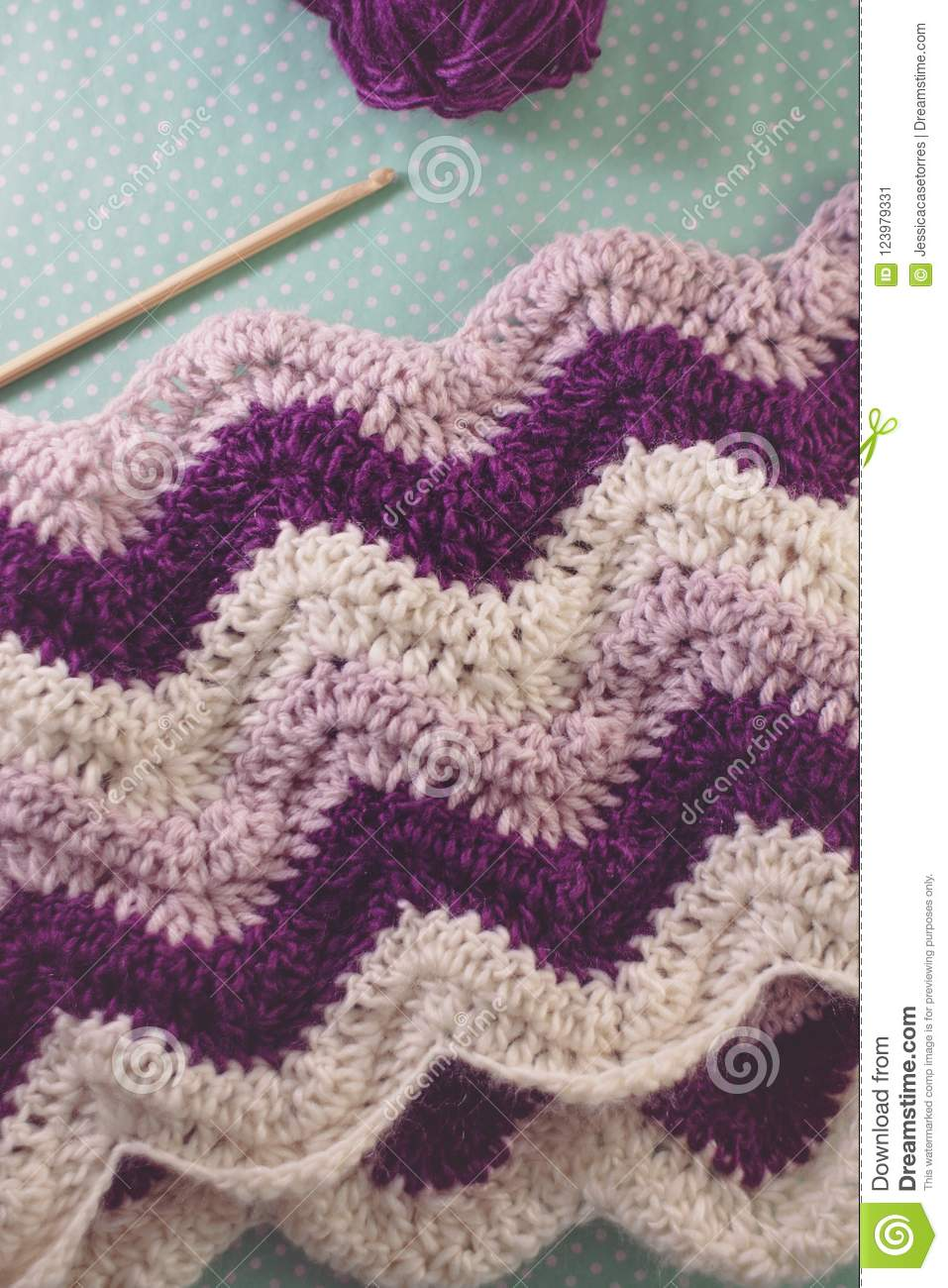 Purple And Pink Ripple Crochet Afghan In Progress Stock Image