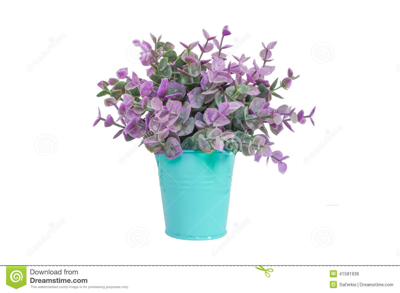 Purple plant in blue metal flower pot stock photo image of decor purple plant in blue metal flower pot izmirmasajfo Choice Image