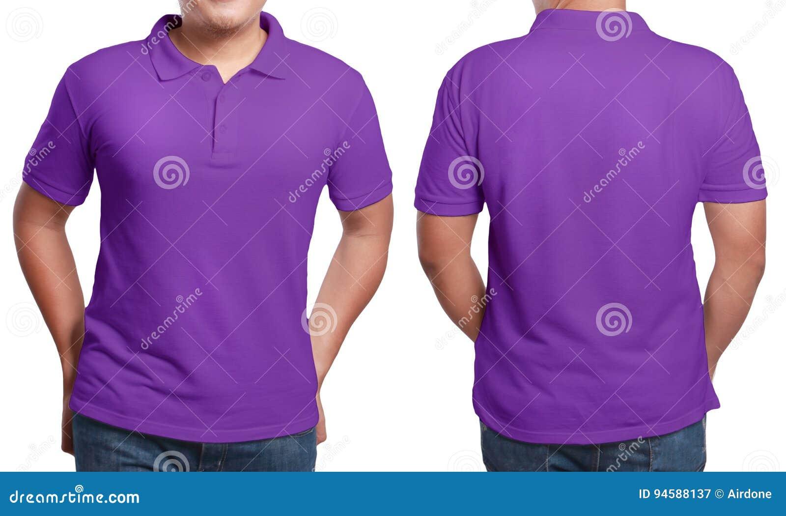 purple polo shirt design template stock image