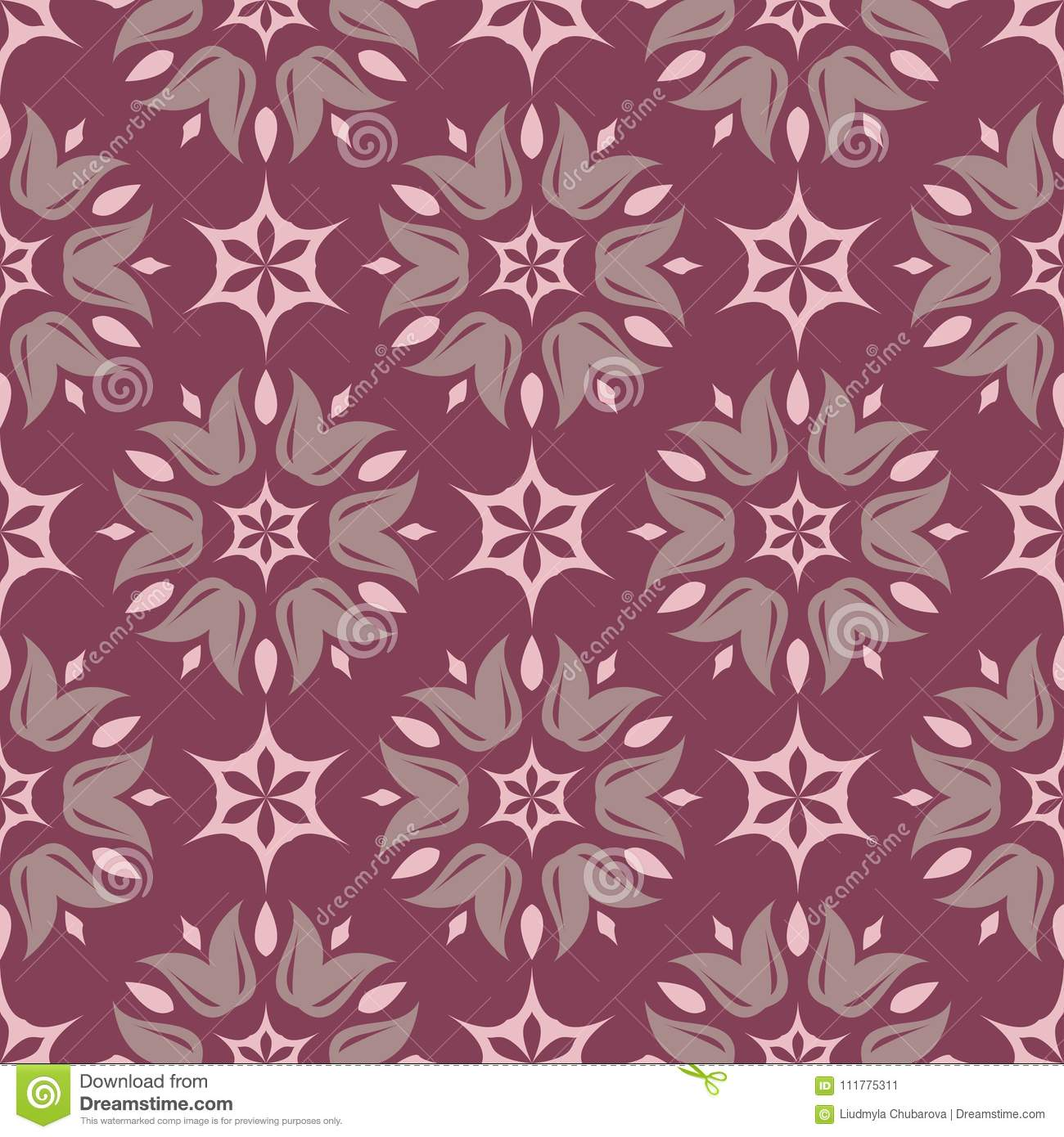 Purple red floral seamless pattern. Background with flower design elements