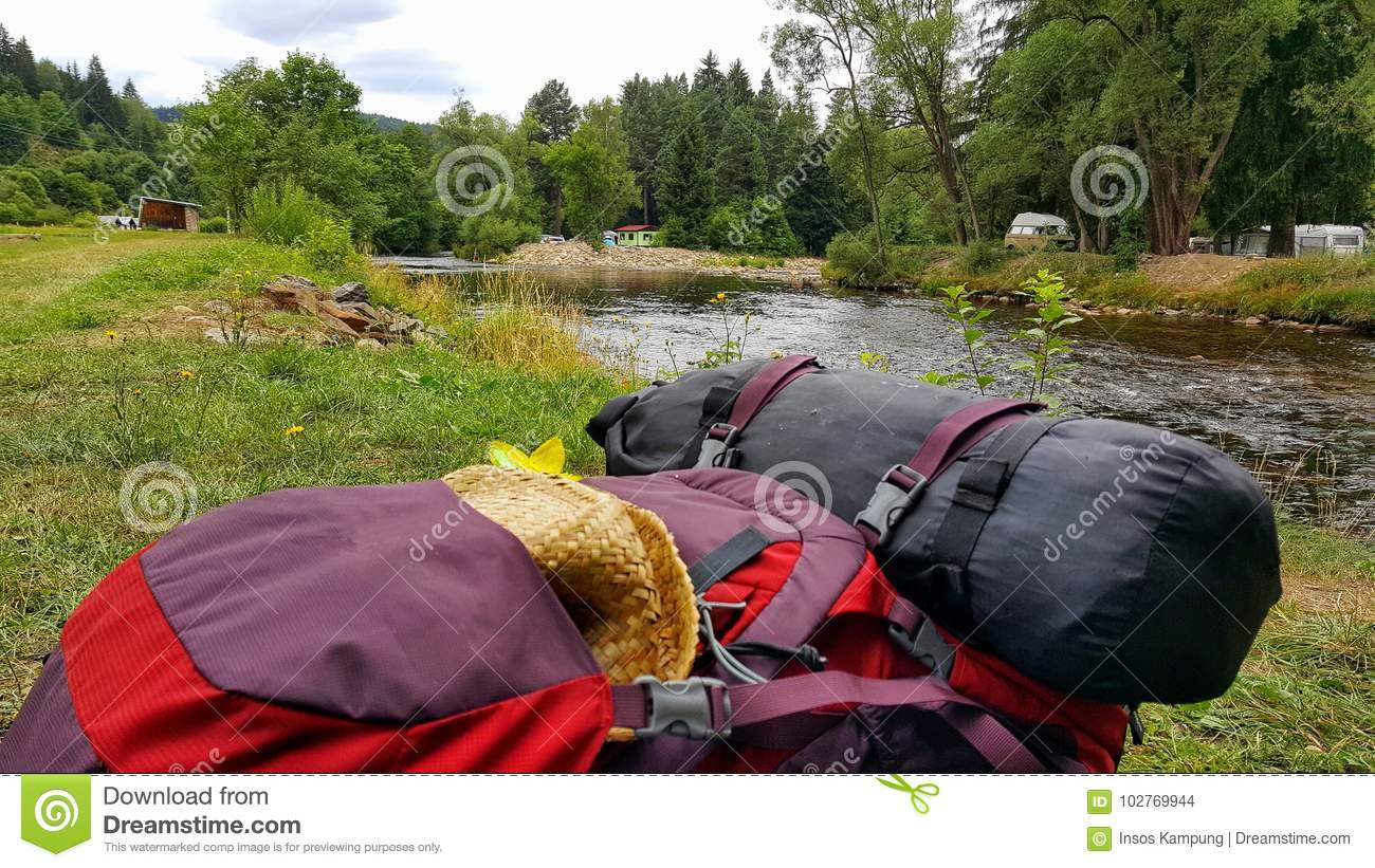Backpack on the bank of Otava River