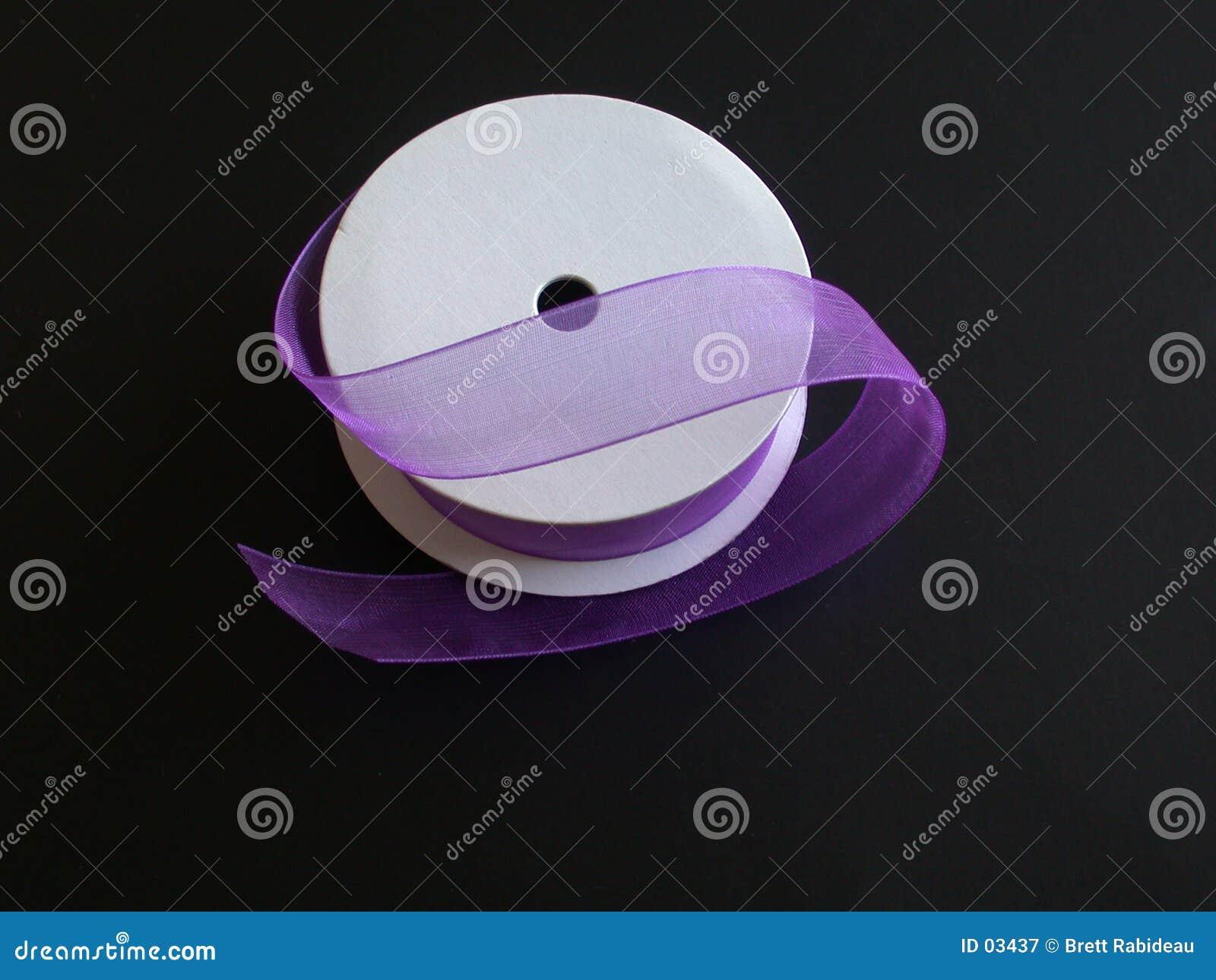 Purple Ribbon on a Black Background I