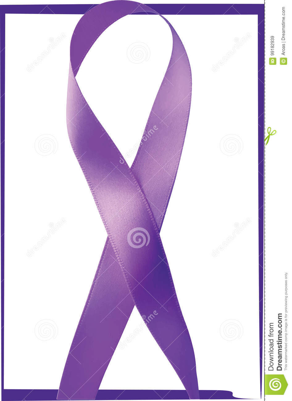 Purple Ribbon General Cancer Awareness Lupus Awareness Stock