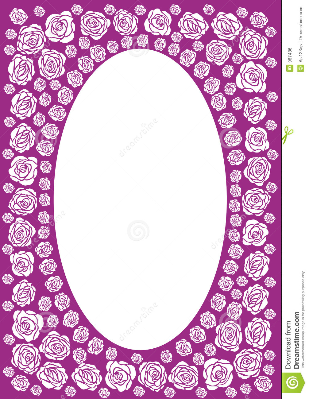 Purple Rose Border Purple rose frame with an oval