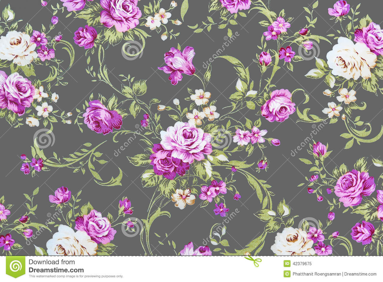 Purple Rose On Gray Fabric Background Fragment Of