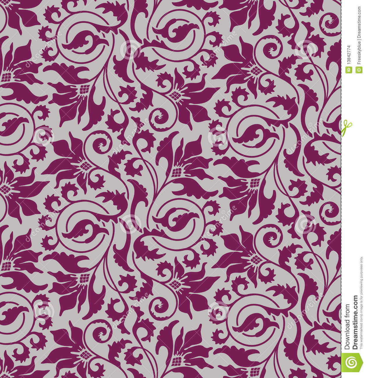 Red And White Patterned Wallpaper: Purple Seamless Flower Damask Background Stock Images