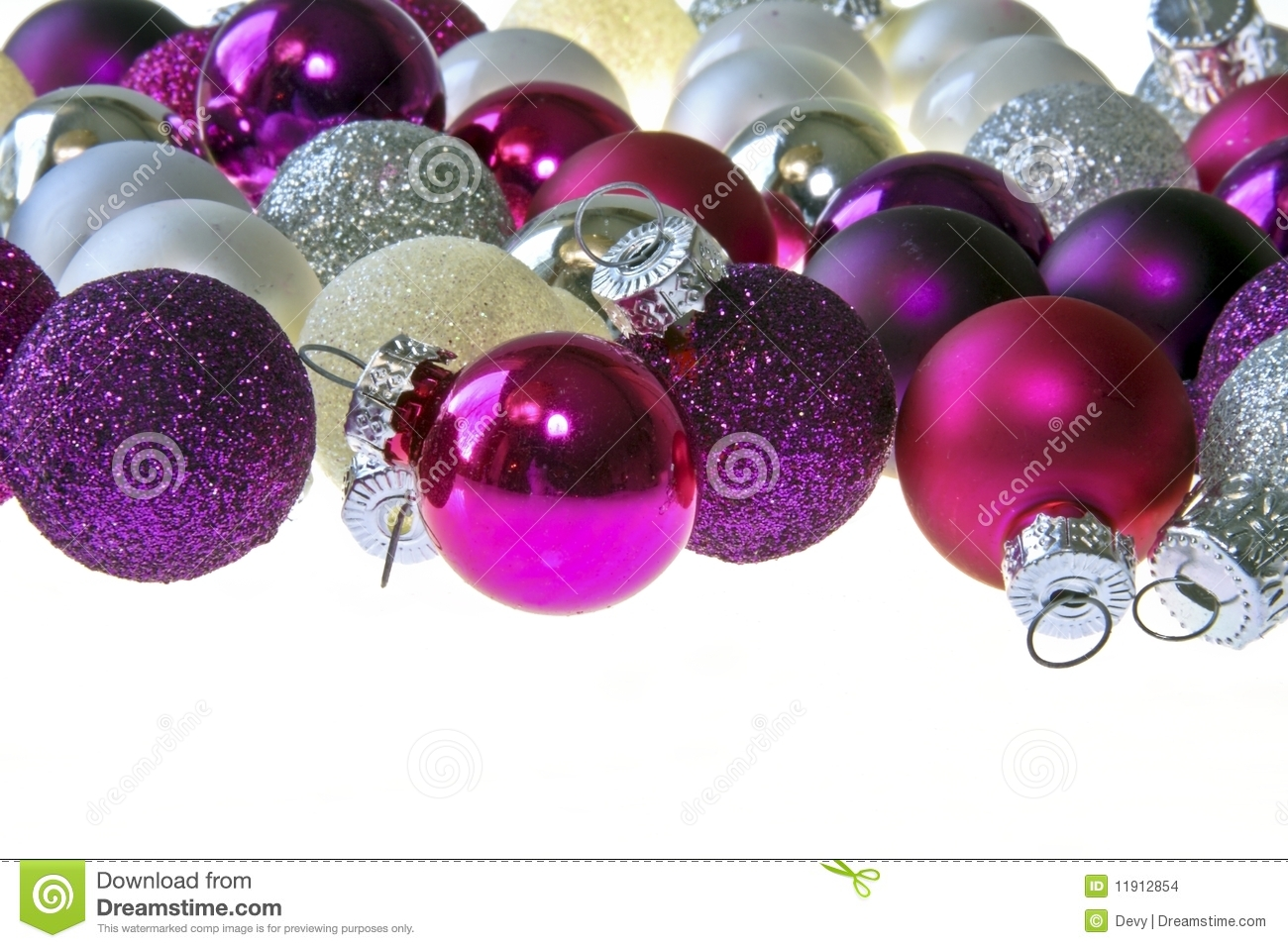 Purple and silver christmas decorations - Christmas Isolated Purple Silver