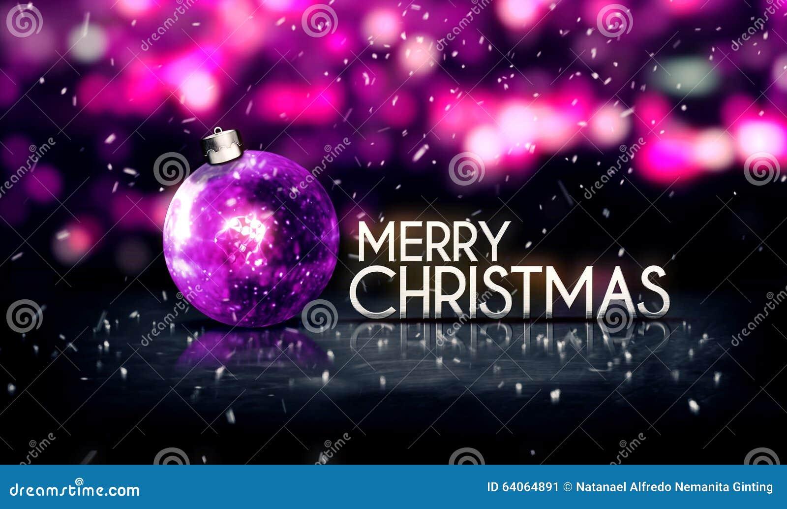 Purple Silver Merry Christmas Bokeh Beautiful 3D ...