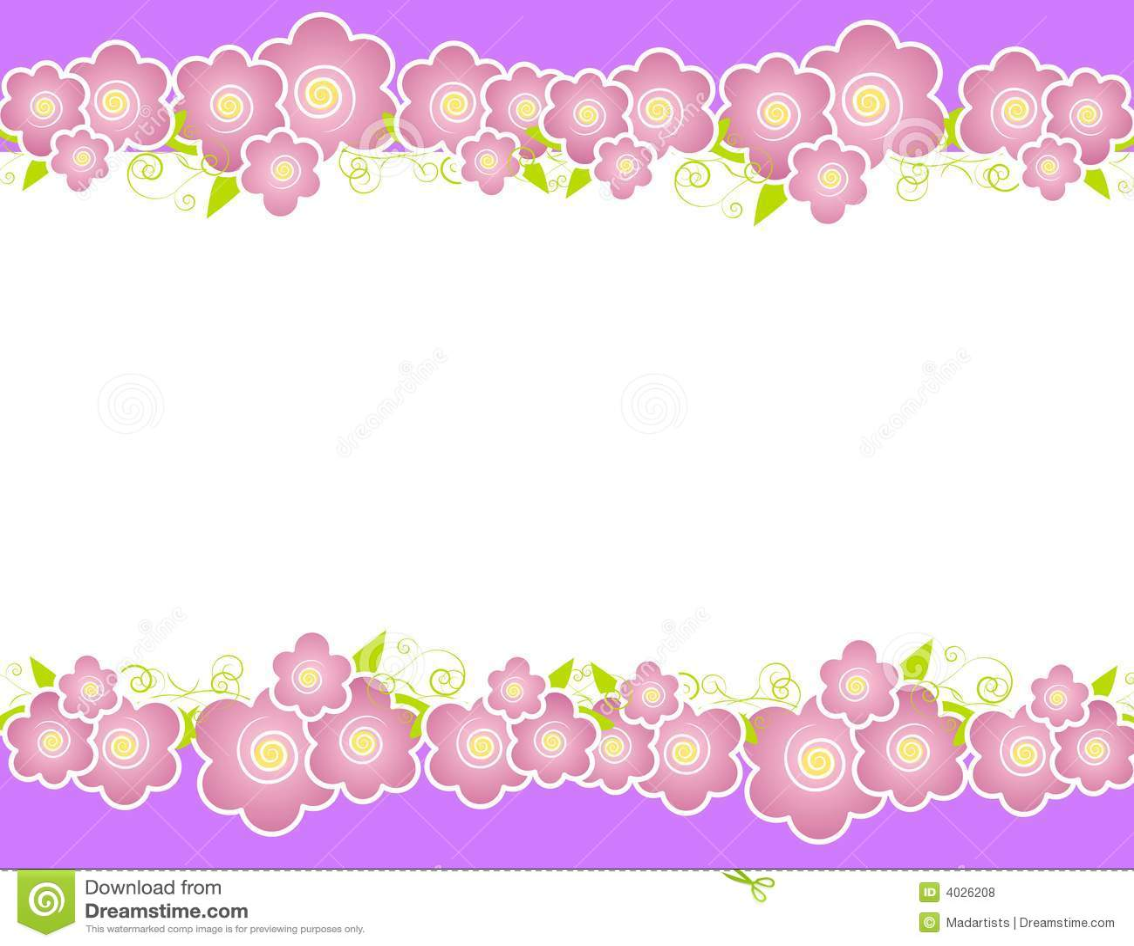 Purple Spring Flowers Border Stock Illustration Illustration Of
