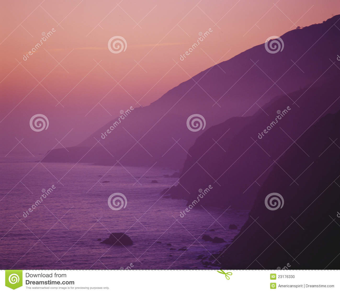 Purple sunset along Pacific Coast Highway