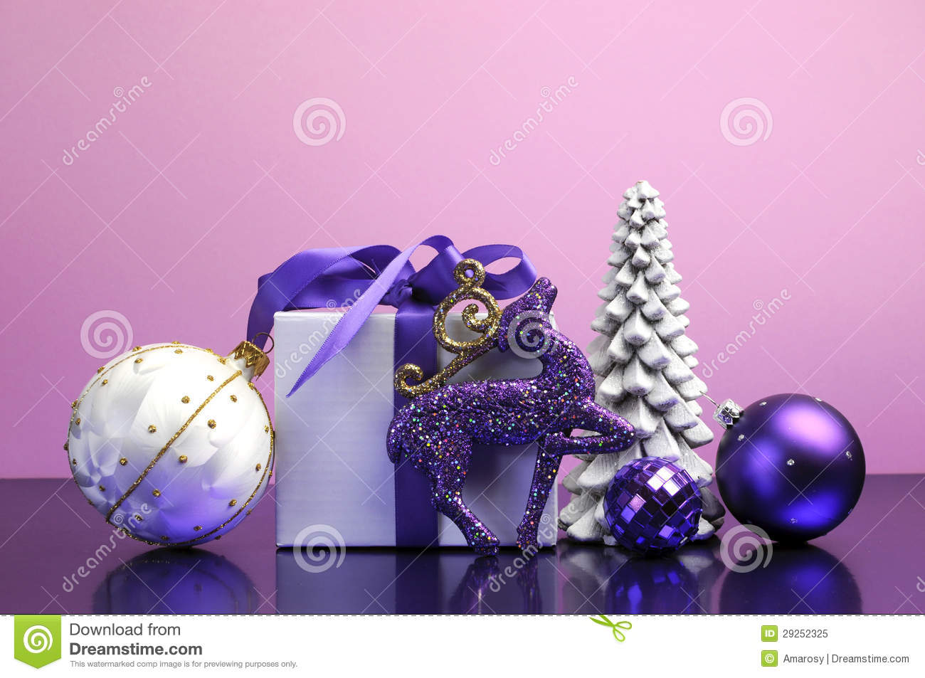 Purple Theme Christmas Gift And Bauble Decorations Stock Image Image Of Gift Object 29252325