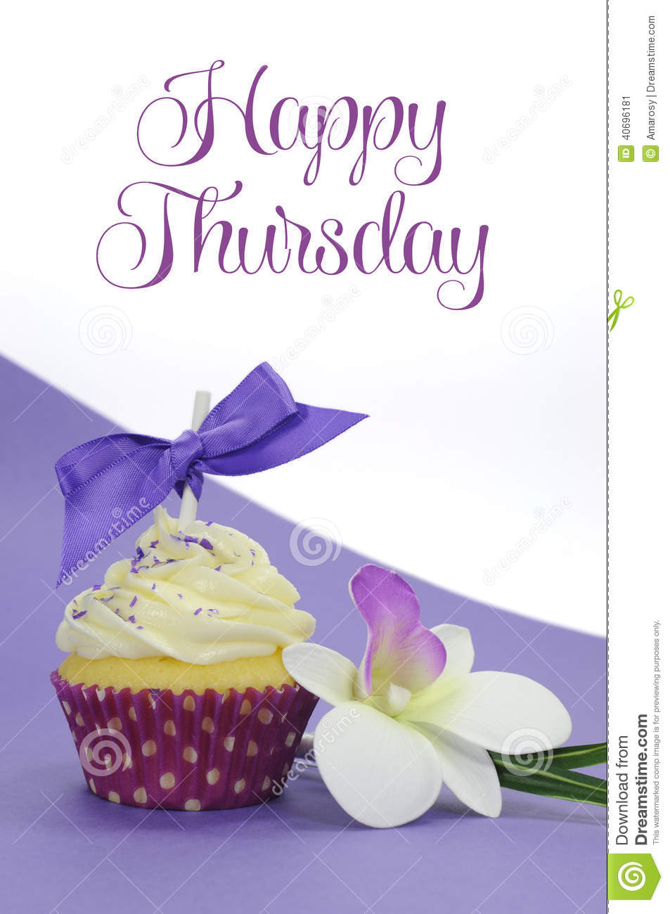 Purple Theme Cupcake With Orchid Flower With Happy Thursday Sample ...