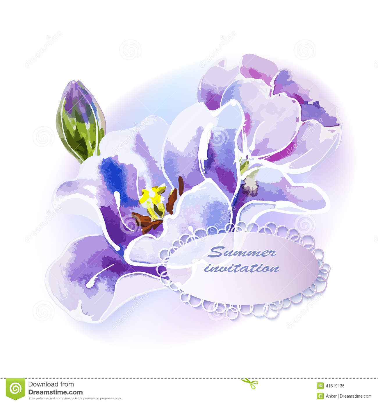 purple tulip watercolor painting stock vector illustration of