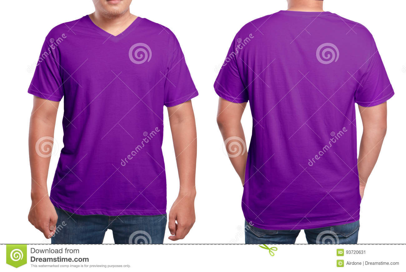 b4c093949e6127 Purple t-shirt mock up, front and back view, isolated. Male model wear  plain purple shirt mockup. V-Neck shirt design template. Blank tees for  print