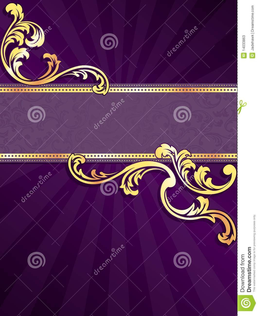 Purple Vertical Banner With Gold Filigree Stock Photos - Image ...