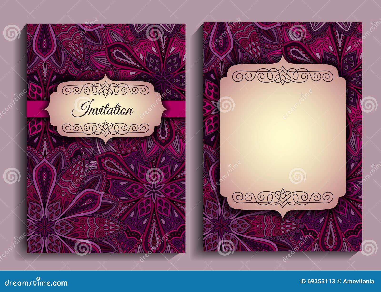 89854394fb92 Purple vintage flower invitation vector elegant template intricate floral  pattern frames swirl decorative jpg 1300x1011 Purple
