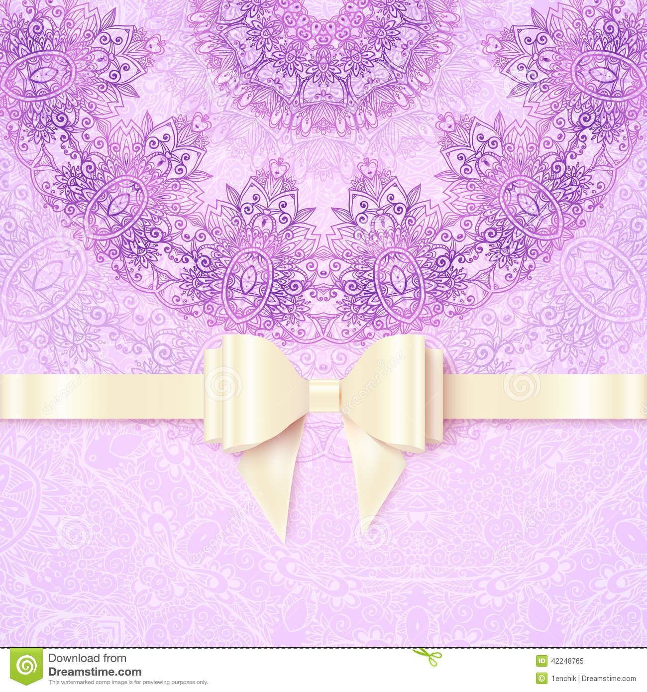 Purple Vintage Lacy Wedding Card Template Stock Vector