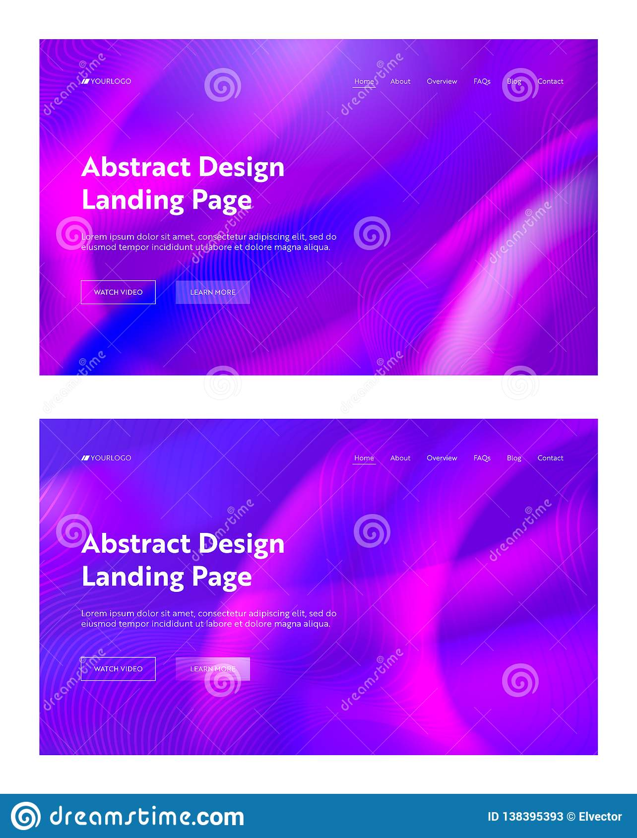 Purple Violet Abstract Wave Shape Landing Background Set. Futuristic Digital Motion Gradient Pattern Design. Liquid