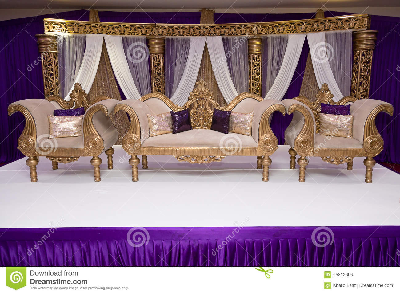 Purple wedding stage stock photo image 65812606 for Asian wedding stage decoration manchester