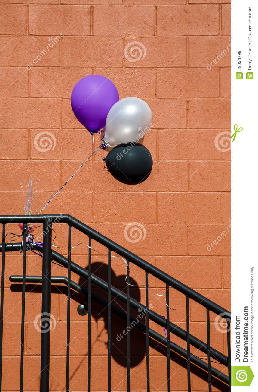 Purple White and Black Baloons