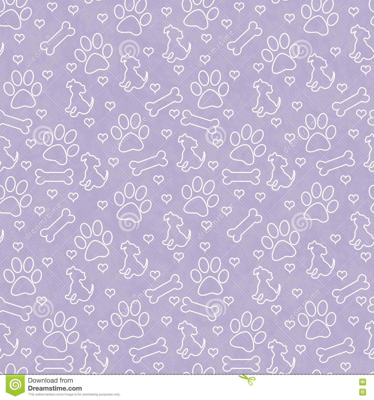 Purple And White Dog Paw Prints Tile Pattern Repeat