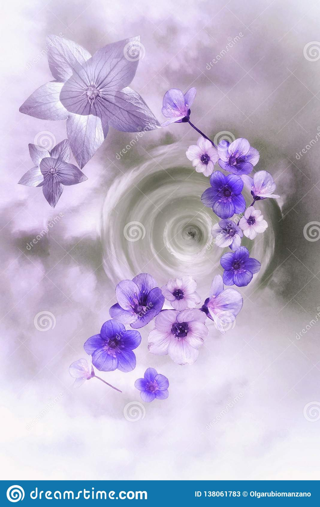 Purple and white flowers in moving background