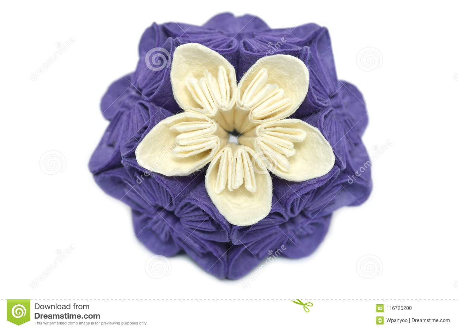 Purple And White Origami Kusudama Flower Stock Photo Image Of