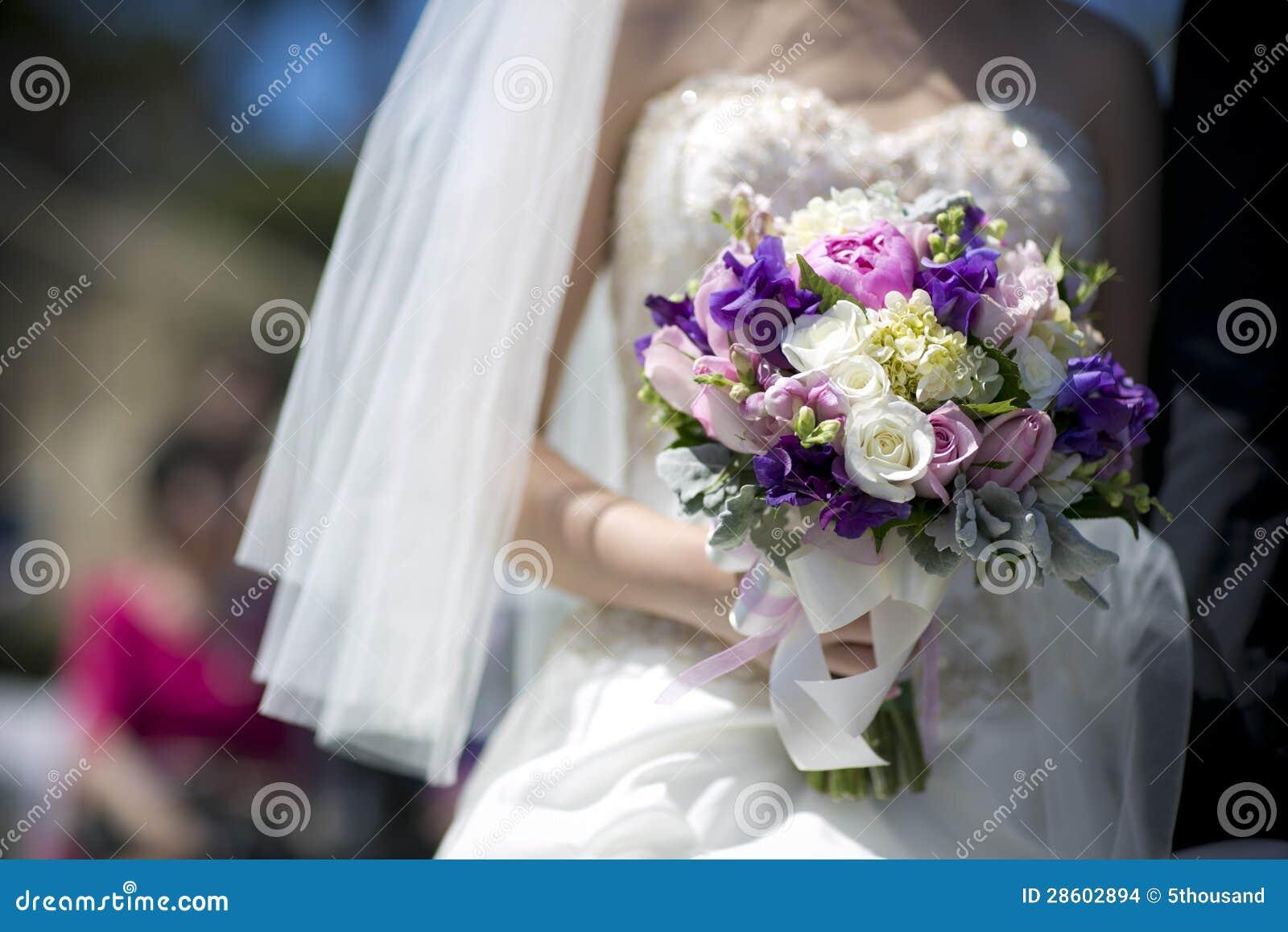 Purple White Vintage Wedding Bouquet Stock Photo - Image of flower ...