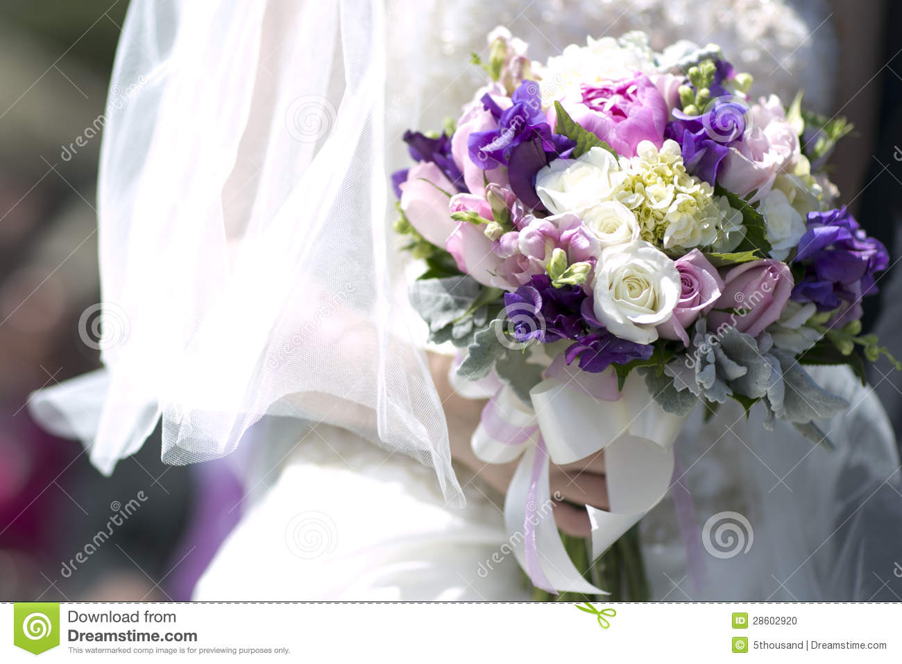 stock photo brides flowers wedding with pink purple roses
