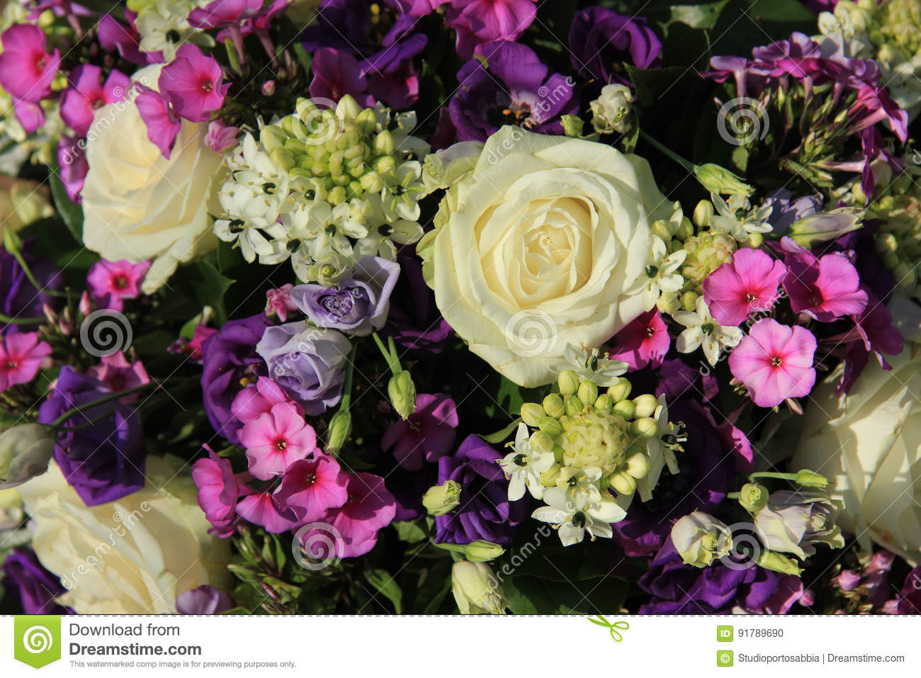 Purple And White Wedding Bouquet Stock Photo Image Of Flowers