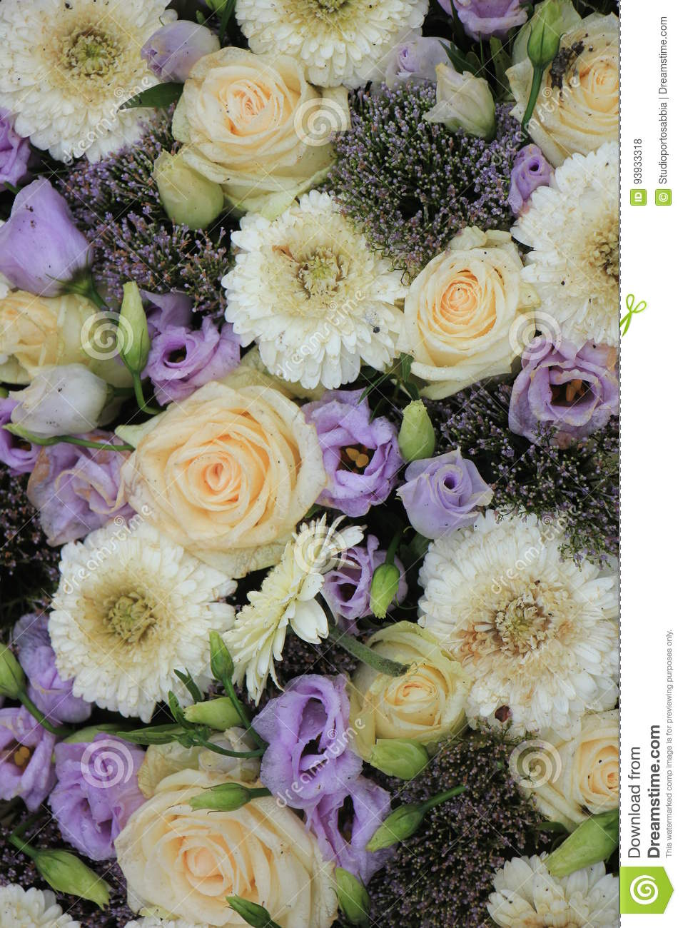 Purple And White Wedding Flowers Stock Photo Image Of Centerpiece