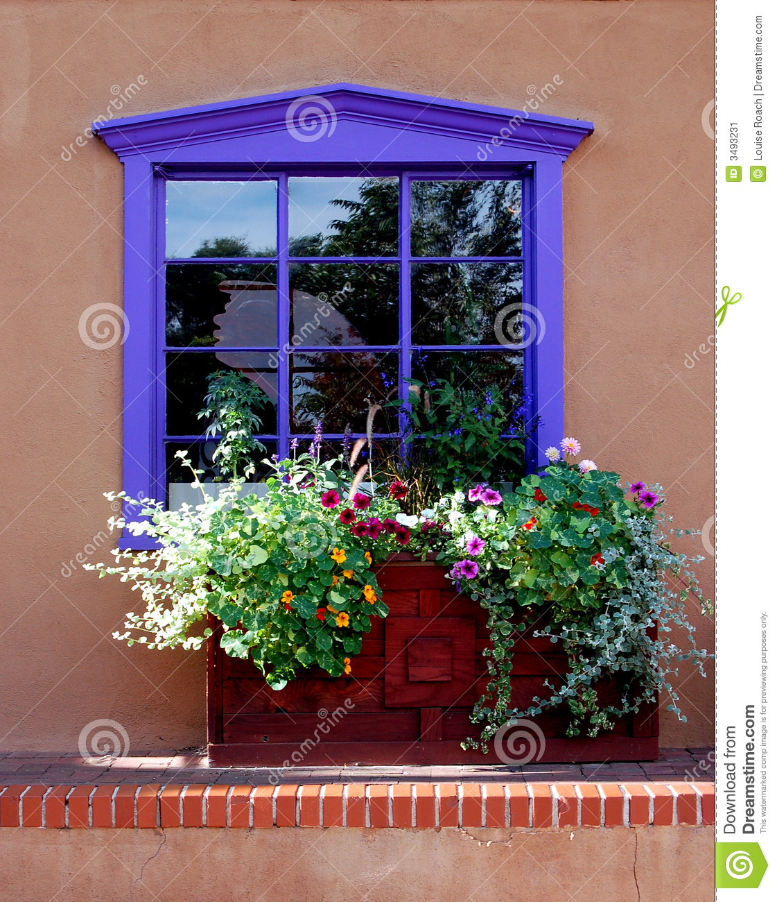 Purple Window Stock Image Image Of Abode Style Flowers