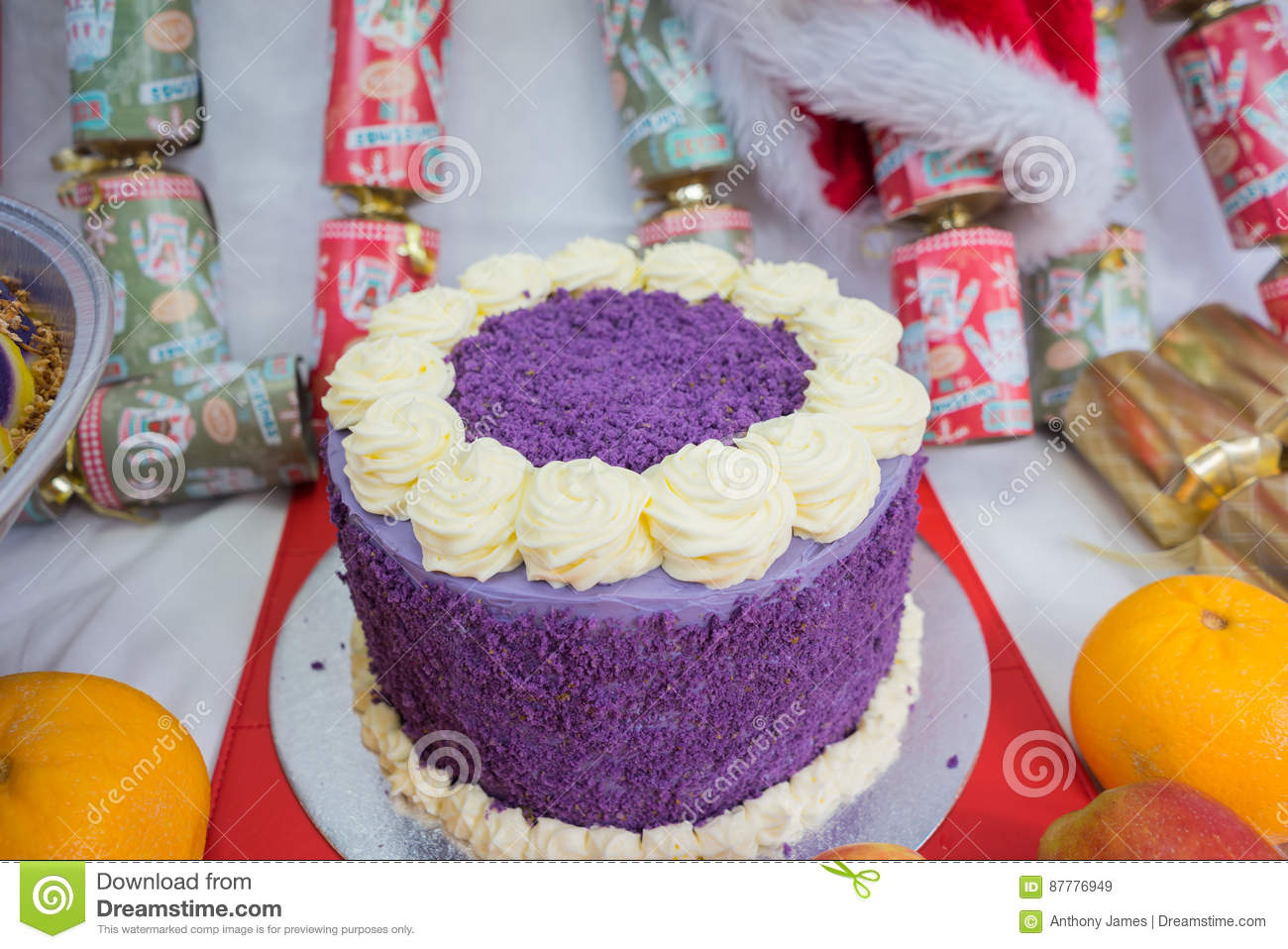 Purple Yam Cake Stock Image Image Of Sweets Sugar Christmas