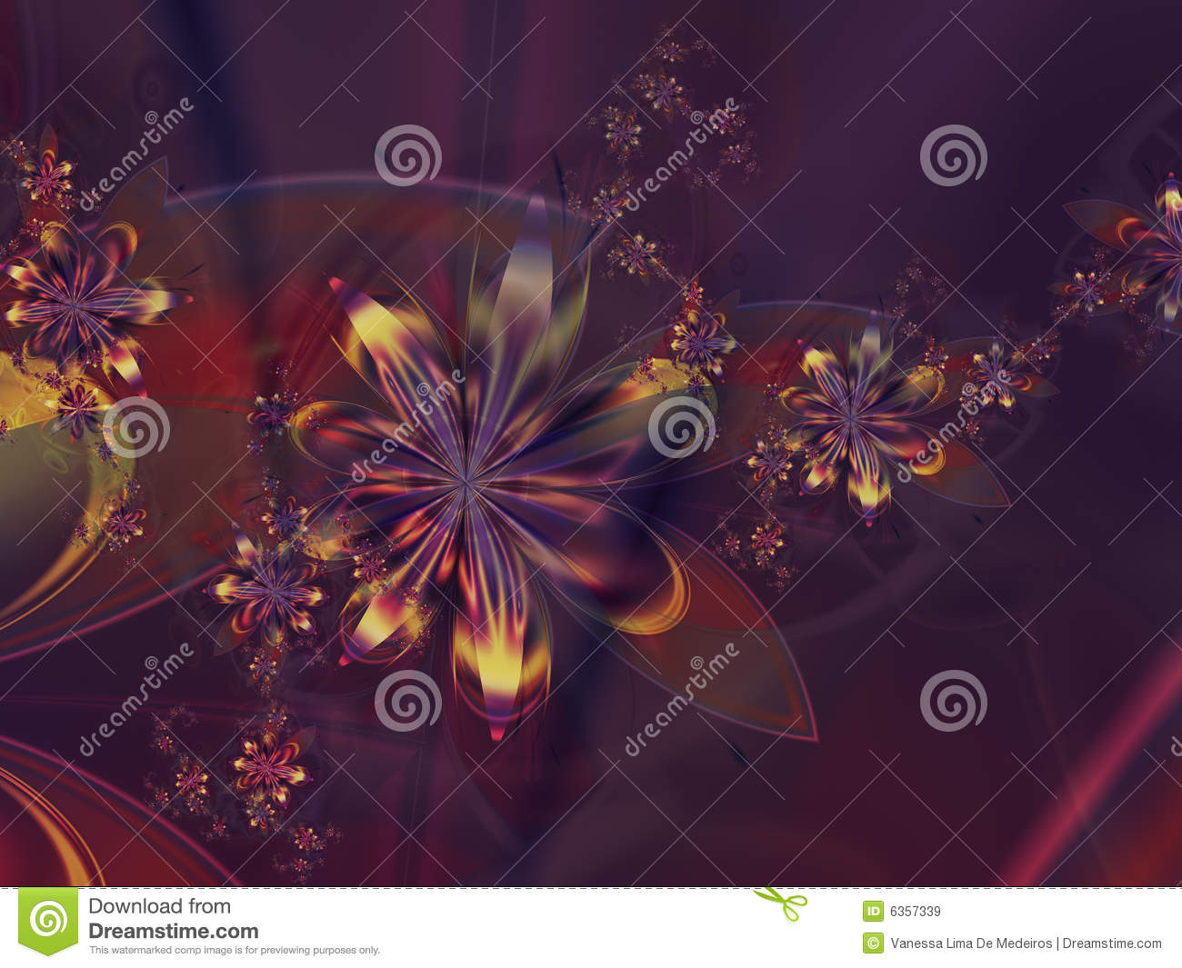 Purple Yellow Abstract Flower Fractal Background Royalty