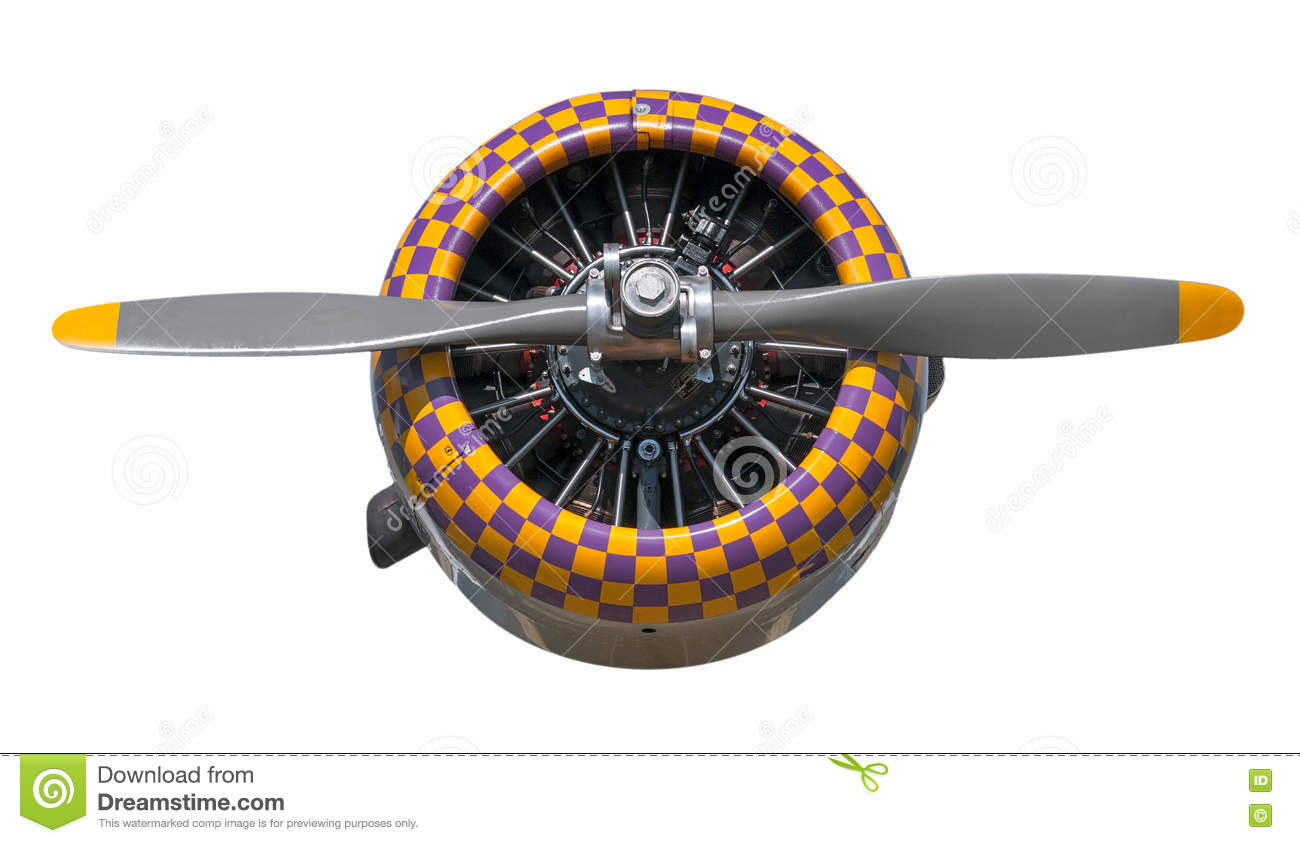 Purple and Yellow Check AT-6 Texan Engine and Propeller