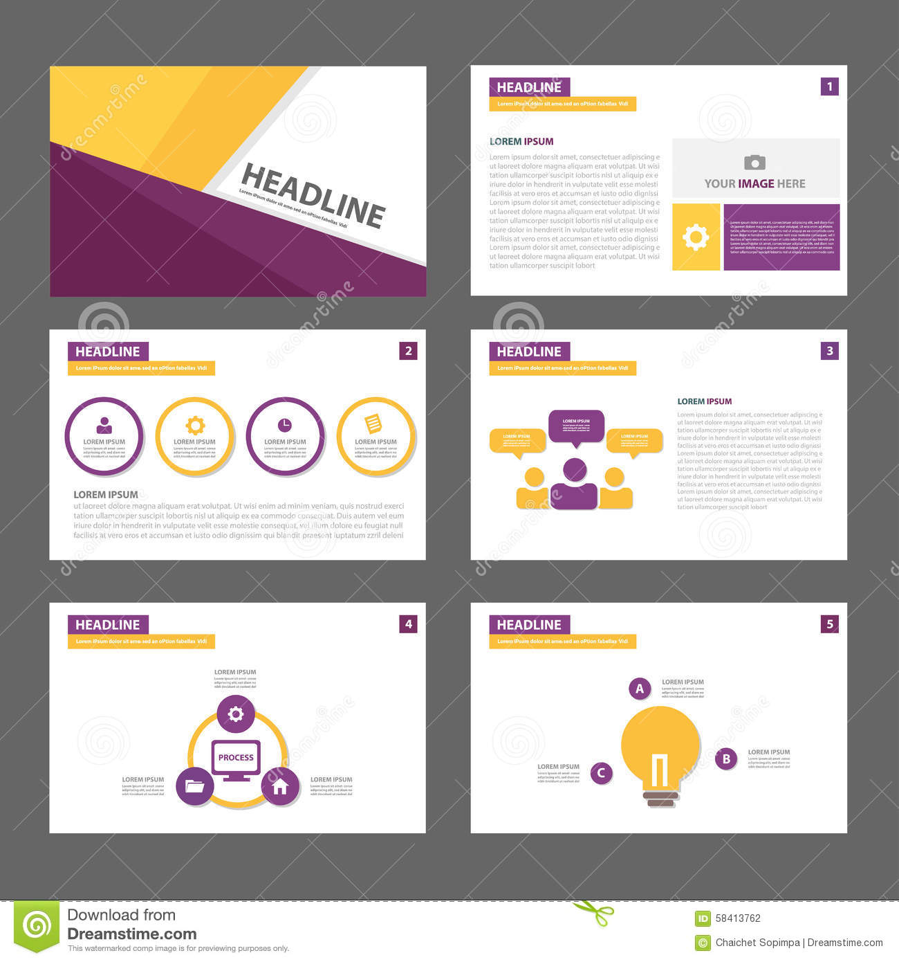 brochure website templates - purple and yellow multipurpose brochure flyer leaflet