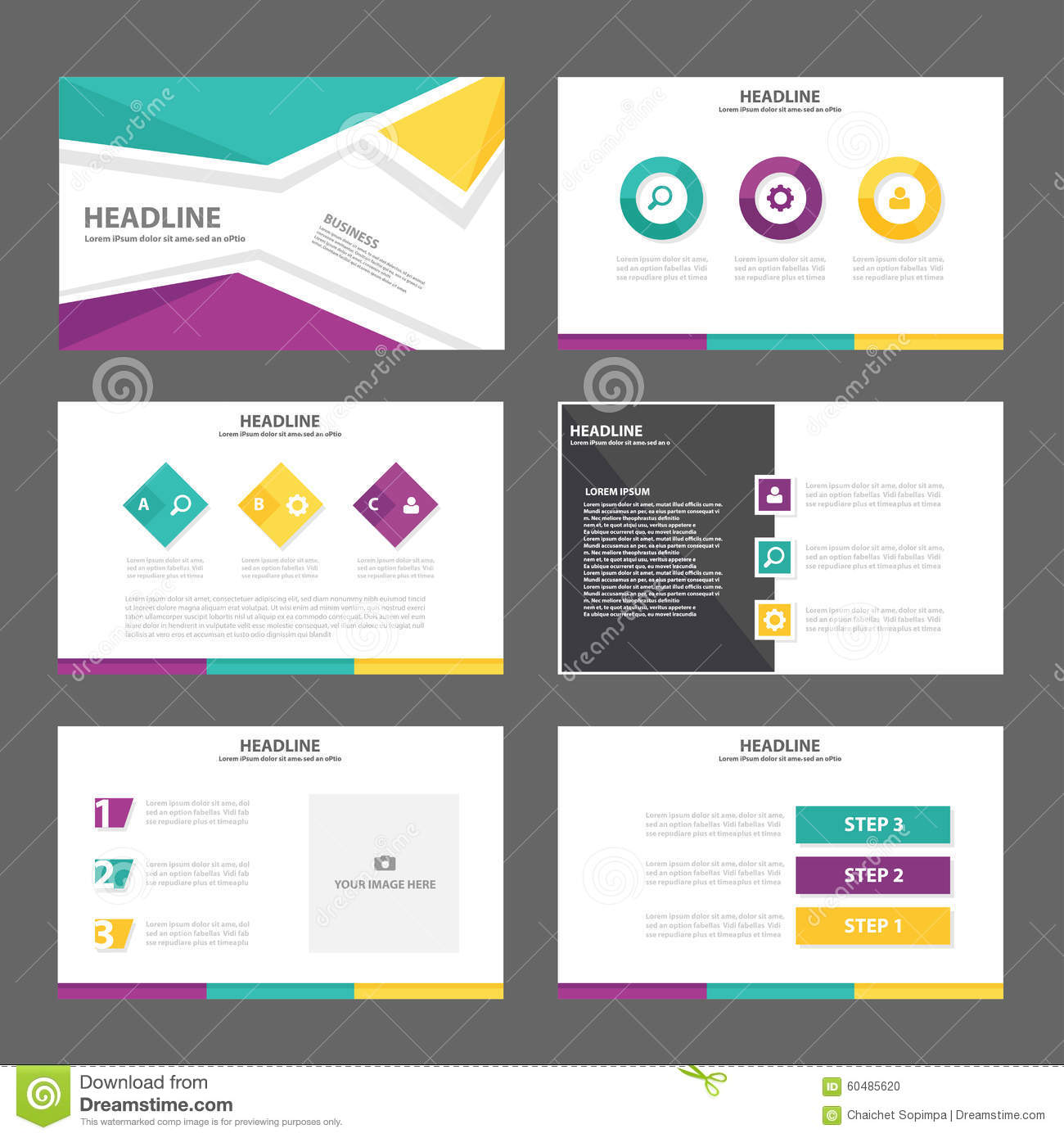 purple yellow presentation template annual report brochure flyer