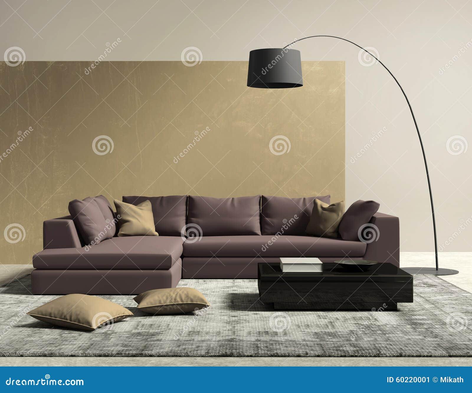Purpur Und Goldzeitgenössisches Modernes Wohnzimmer Stockbild - Bild ...