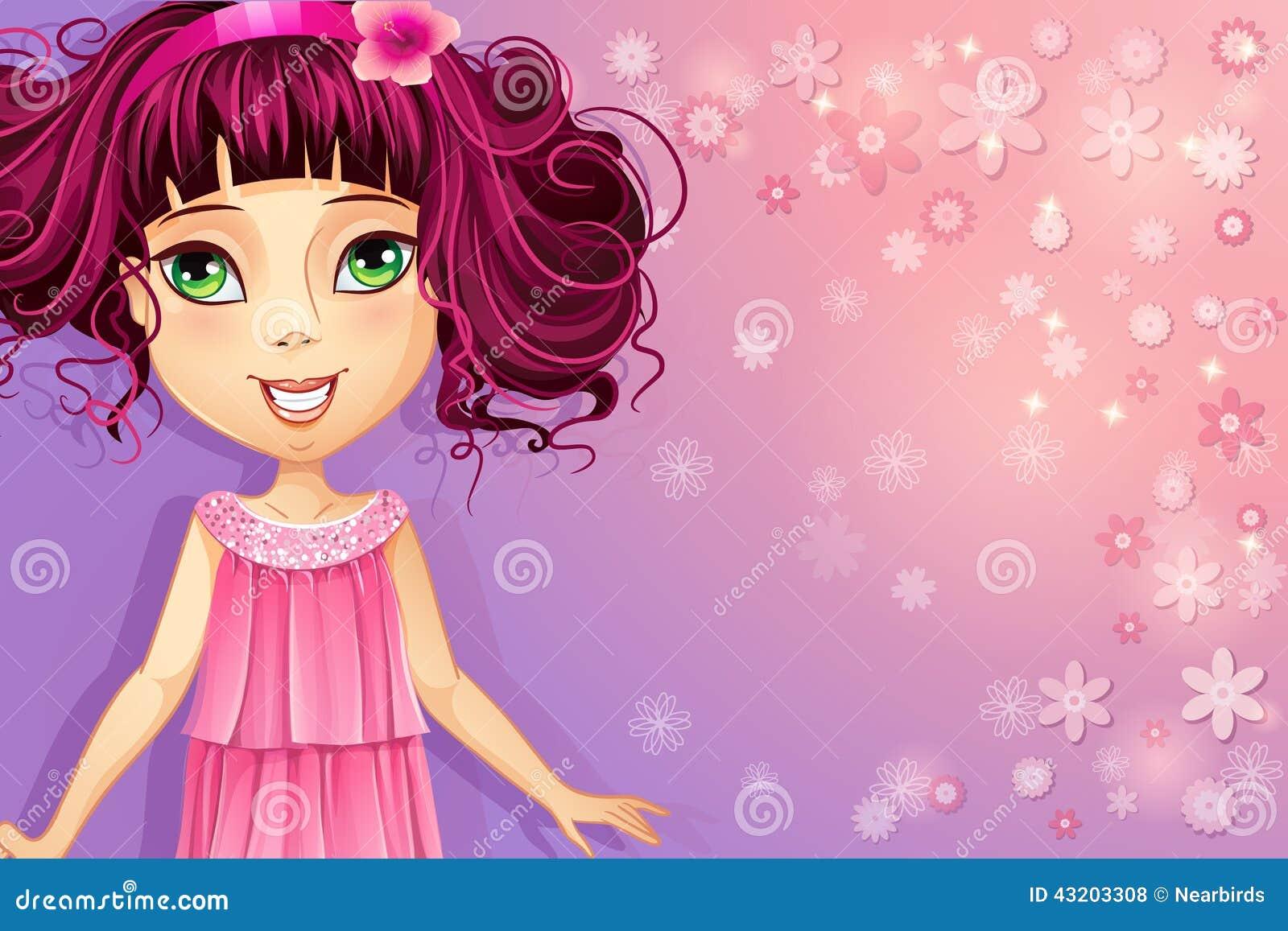 Download Purpurfärgad Blom- Bakgrund Med En Ung Flicka I En Rosa Klänning Vektor Illustrationer - Illustration av hälsa, kläder: 43203308