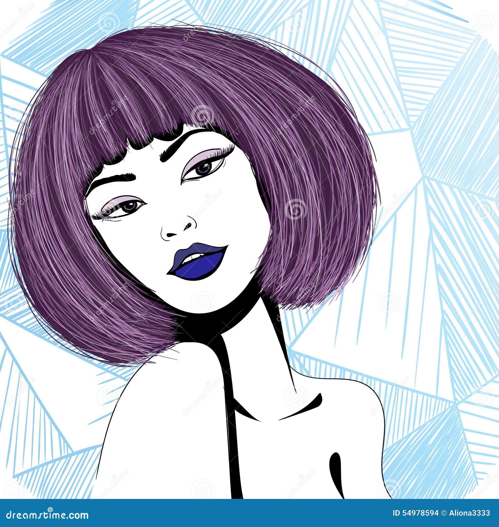 Purpurfärgad flicka för glamour med ljust hår