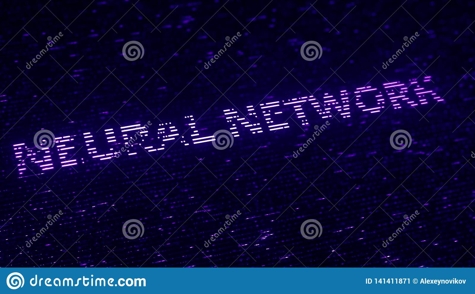 Purpurfärgad text för NERV- NÄTVERK som göras med luminiscenta partiklar för flyg Loopable 3d tolkning