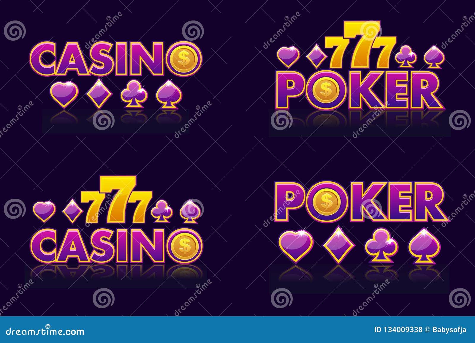 Purpurfärgade logoidéer smsar KASINOT och POKER Vektorsymboler för lotteri eller kasino Isolerat emblem fyra