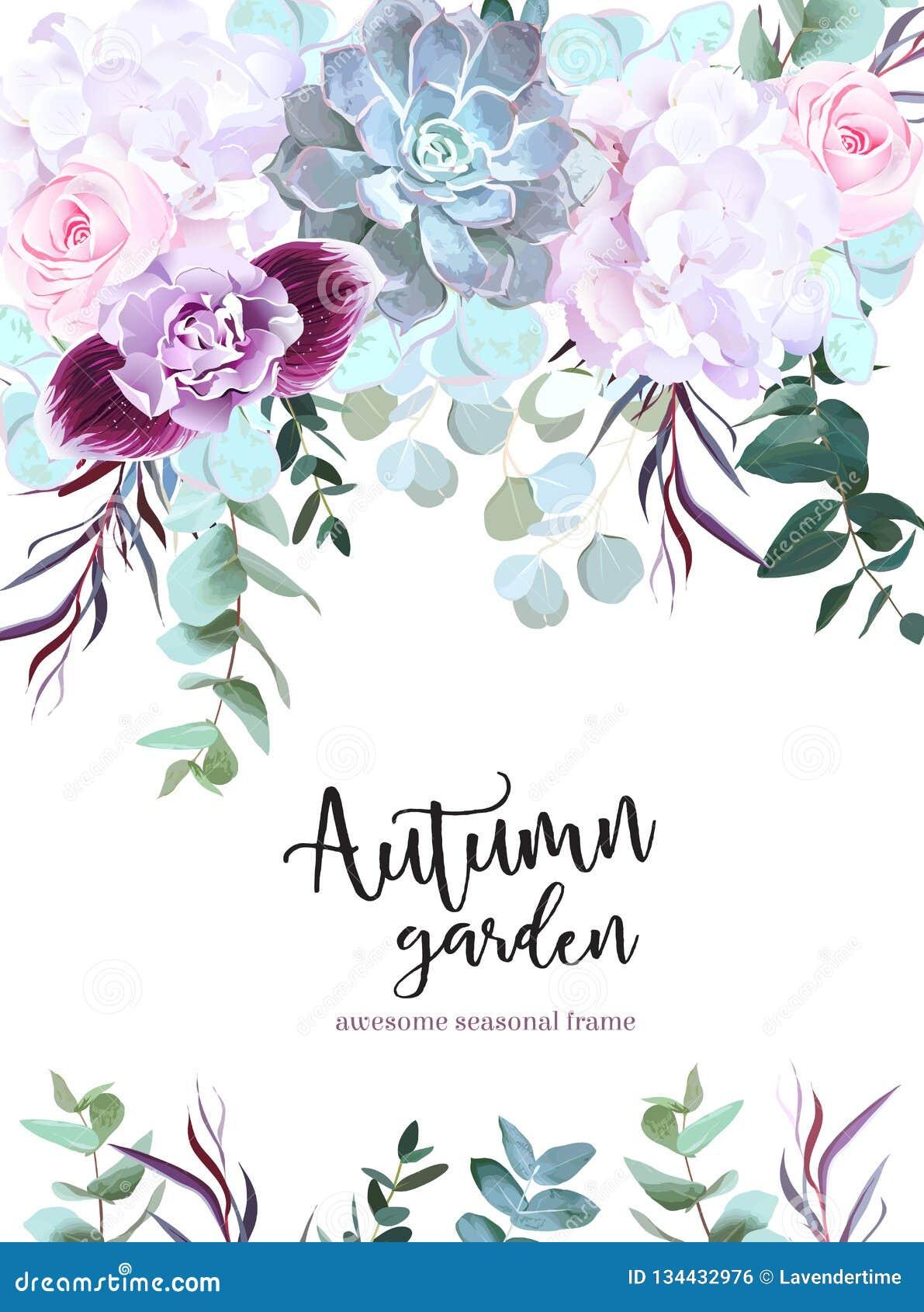 Purpurfärgat, vitt och rosa kort för blommavektordesign