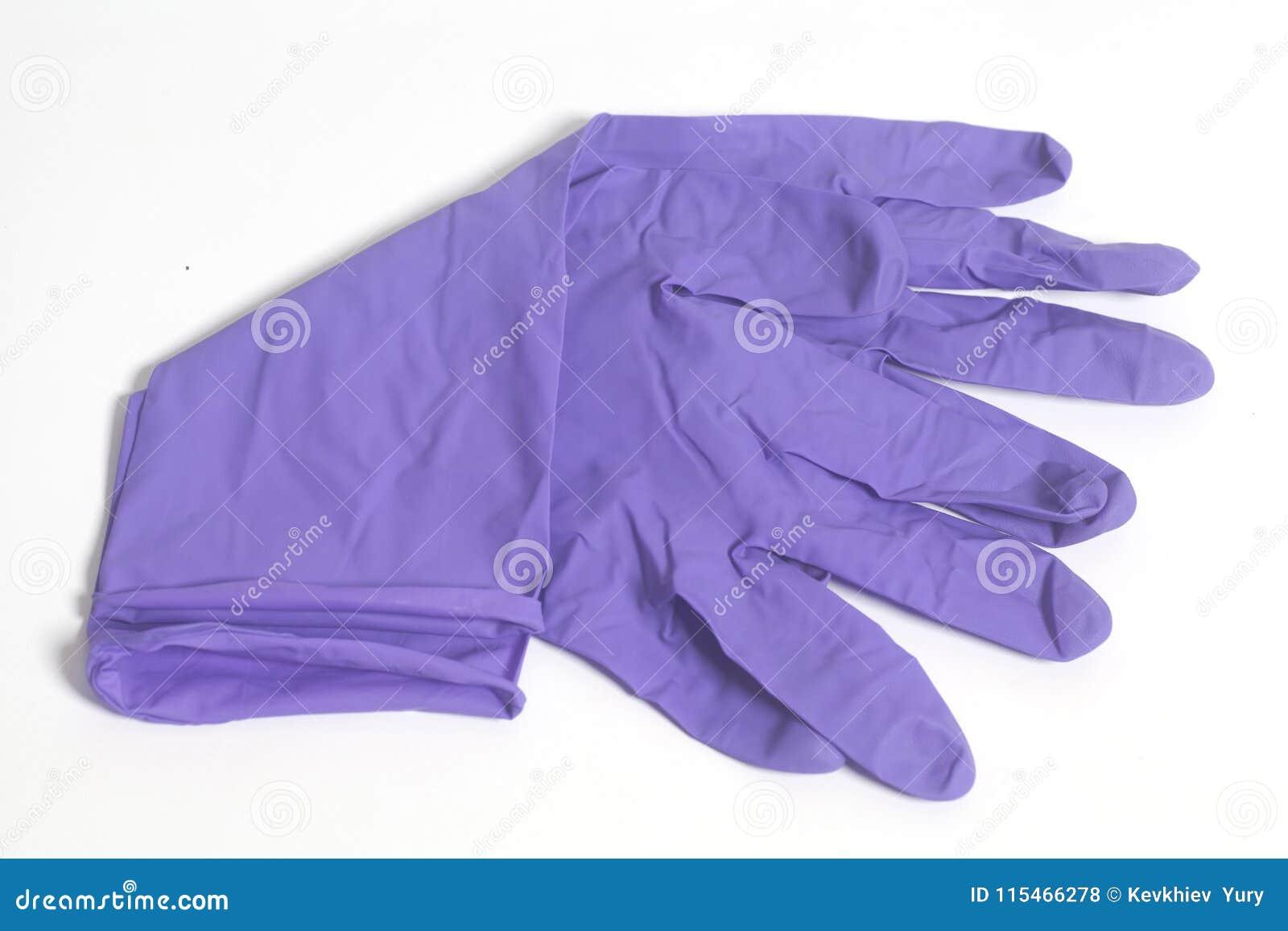 Purpurowe lateksowe rękawiczki