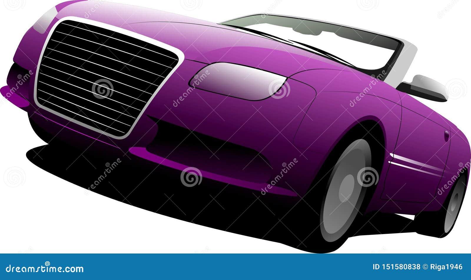 Purpurowy kabriolet na drodze
